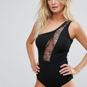 ASOS Wolf & Whistle Lace Insert 1 Shoulder Bathing
